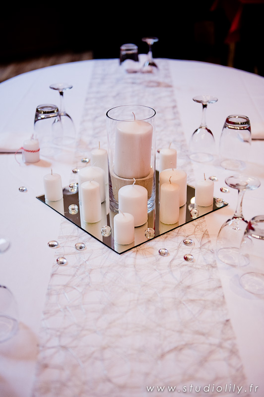 Centre de table avec bougies