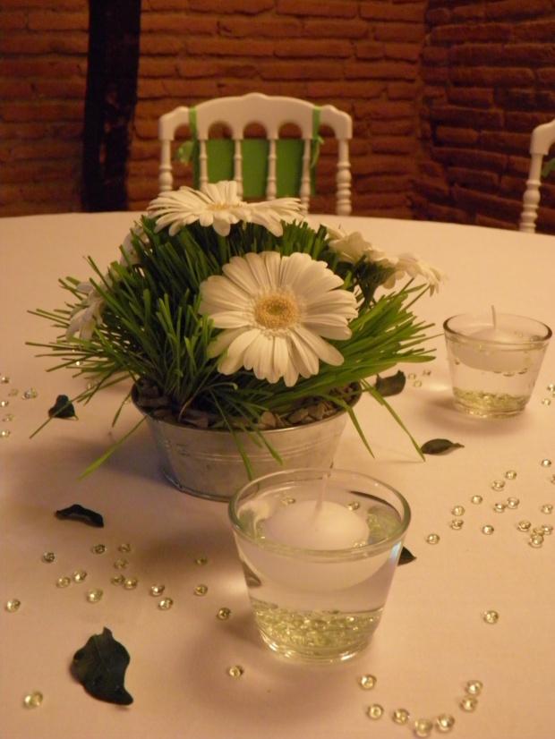 Centre de table blanc et vert